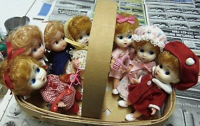 Lot Vintage Small Dolls - accessories Hong Kong Vinyl Rubber face Plastic Body
