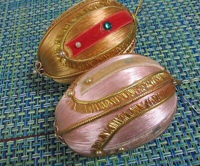 2 Vintage Pretty Pink & Gold Satin Sequin With Ribbon Oval Christmas Ornaments
