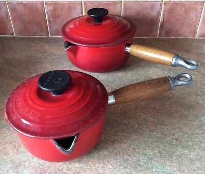 Le Creuset Saucepans No14 & No16 with Lids Volcanic Red Cerise Vg used condition