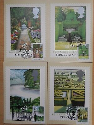 GB 1983 British Gardens set 4 used PHQ cards with location hand stamps