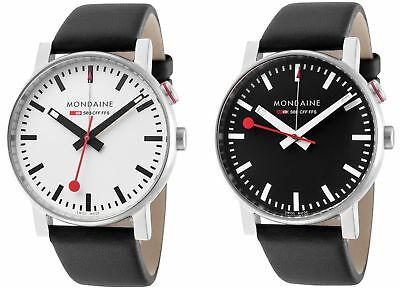 Mondaine Men's A468.30352 EVO Alarm 40mm Black Leather Watch - Choice of Color