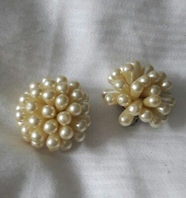 vintage earrings clip on faux pearl star burst 50s pin up retro Christmas