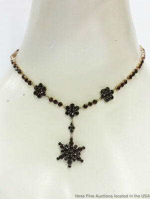 Stunning Antique Bohemian Garnet Approx 31.7ctw 16in Star Drop Necklace