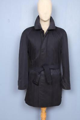 Mens BURBERRY Single Breasted Short TRENCH Coat Mac Navy Size 40/42