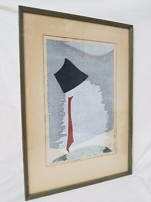 Japanese Woodblock Print Art Colored Pencil Signed 1958 Evening Gloom Of Japan