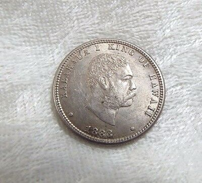 1883 KINGDOM OF HAWAII King KaIakaua Silver Quarter ALMOST UNC/UNC 25c