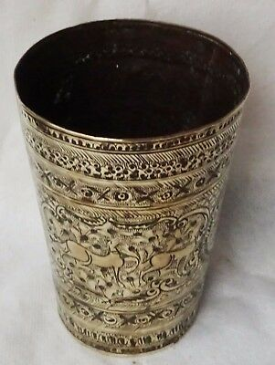 Antique Indian  Chased  Brass Beaker Lassi Cup