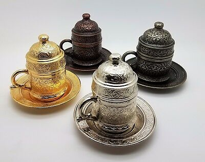 Traditional Ottoman Metal Turkish Coffee Cups With Saucer & Porcelain Insert Us