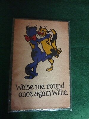 Vintage comic  cat postcard 'Walsh me round once again Willie'
