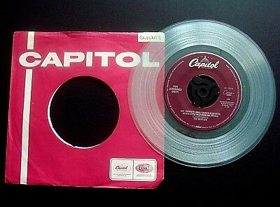 "THE BEATLES ""Sgt PEPPERS"" DELETED U.S.A. CAPITOL LABEL CLEAR VINYL 45 EX/CON"