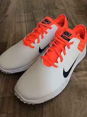 Nike Fi Impact 2 Women's Sz 7 Waterproof Golf Shoes White Red Navy Swoosh Ladies