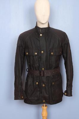 Mens BELSTAFF Brown Belted Motorcycle WAXED Jacket Size L/XL