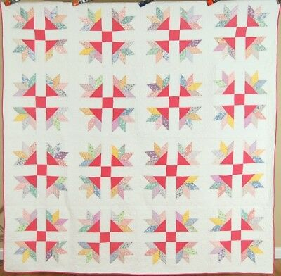 GORGEOUS Vintage 30's Goose Tracks Patchwork Antique Quilt ~NICE HAND QUILTING!