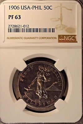 1906 Philippines 50 Centavos Silver NGC PF 63       ** FREE U.S. SHIPPING **