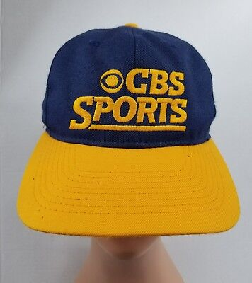 CBS Sports Hat Embroidered Baseball Cap Trucker Snap Back Blue Yellow