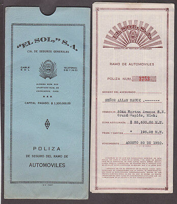 Mexico - 1950 Insurance policy