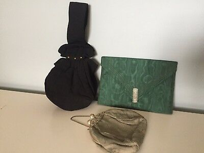 3 Vintage small evening bags 1930's-40's