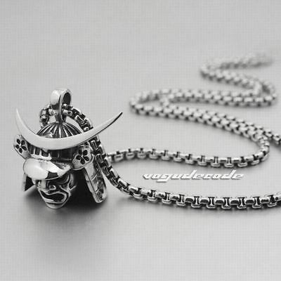 """AWESOME Japanese Samurai Armor Pendant 316L Stainless Steel Necklace 24"""""""