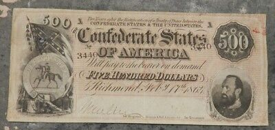 AUTHENTIC - Confederate CSA Note $500 Type 64 February 1864 - NICE - SN # 3440