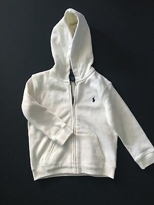 NWOT Polo By Ralph Lauren White Zip Front Hoodie Boy Size 3