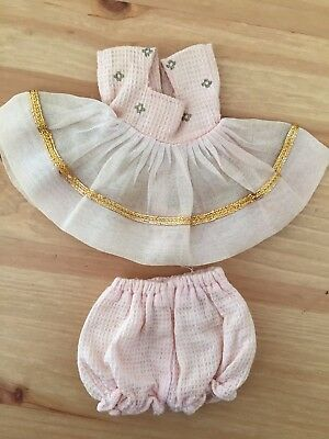 GINNY MUFFIE Vogue Doll Outfit - Pink Lace Dress Gold Lame Bloomers Untagged