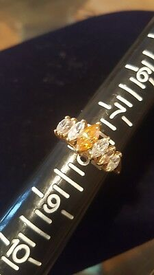 10Kt 10K Gold Cz Yellow And Clear Ring 3.1 Grams Not Scrap Size 8