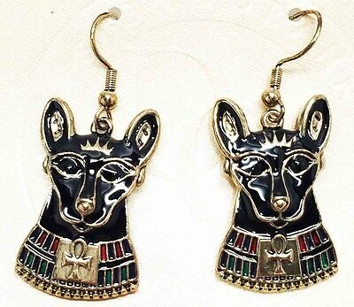 Ancient Egyptian Bastet Cat Stud Earrings Pair Black & Gold Accessory Jewelry