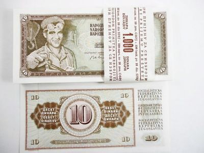 Approx 100 Yugoslavia Bank Notes 10 Dinara Uncirculated