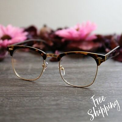 Tortoise Gold Clear Clubmaster Glasses