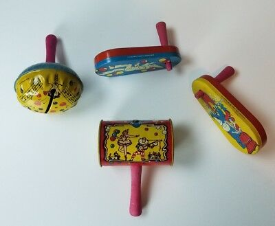 Lot of 4 Vintage Tin Noise Maker Party Favor 1950's Litho Life of the Party