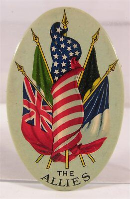 ca1917 WORLD WAR I CELLULOID ADVERTISING POCKET MIRROR TYPE PHOTO FRAME FLAGS