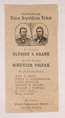 1868 Ulysses S Grant / Schuyler Colfax Illustrated Presidential Campaign Ballot
