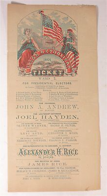 1864 Abraham Lincoln /andrew Johnson Illustrated Presidential Campaign Ballot #3