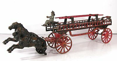 LARGE 1880s CAST IRON HORSE DRAWN FIRE ENGINE / LADDER TRUCK WAGON By CARPENTER