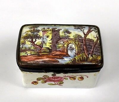 Antique Bilston Battersea Enamel Patch Box Castle Gate Landscape Scene