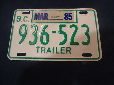 Trailer License Plate British Columbia 1985, 936-523