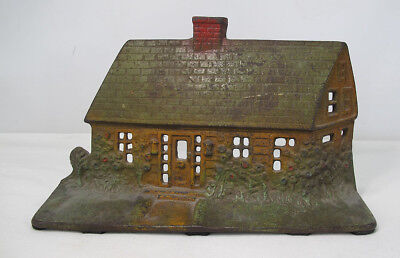 Antique Cast Iron English Cottage House Hand Painted Large Figural Doorstop yqz