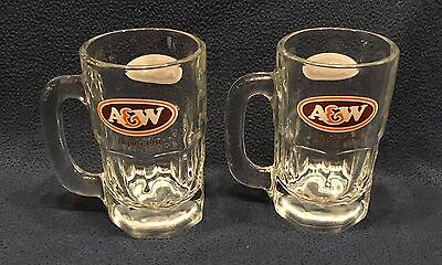 """Lot Of 2 Heavy Glass A&w Rootbeer Mugs - French & English - 6"""" Tall"""
