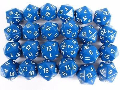 Lot Of (24)  20-Sided Polyhedral Game Dice Blue (24 Total Count)