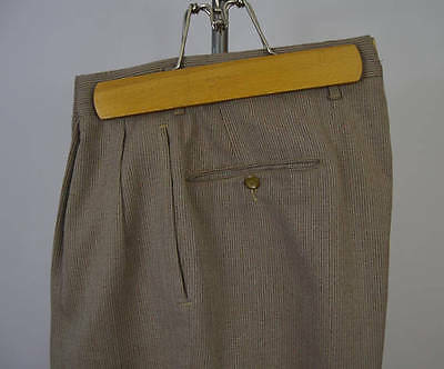 Vintage 1950s Light Brown Orange Fleck Drop Loop Hollywood Trousers Size 32 x 28