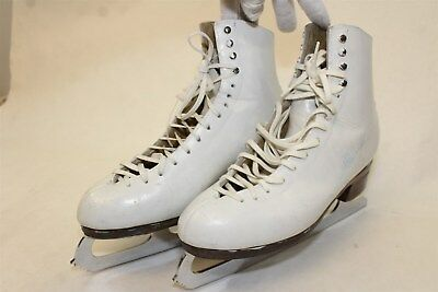 Harlick's Womens 10 White Leather Figure Ice Skates MK Blades mn