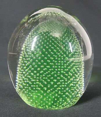 Vintage Pairpoint Style Lime Green Controlled Bubble Art Glass Paperweight yqz