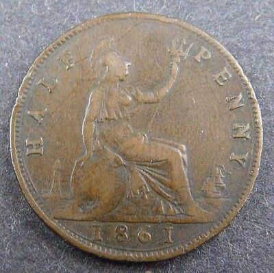 1861 Great Britain Half Penny coin foreign NR (0118)