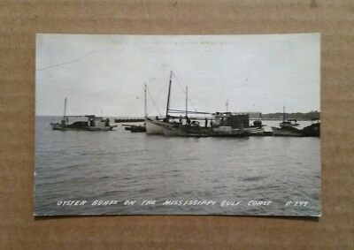 Oyster Boats on The Mississippi Gulf Coast,RPPC,1940's