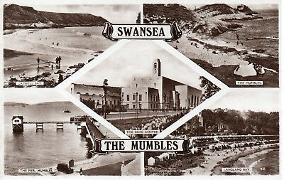 SWANSEA / THE MUMBLES  MULTI-VIEW CARD GLAMORGAN ( Card No 48 )