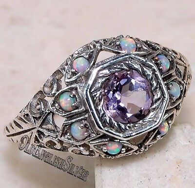2CT Amethyst & Opal 925 Solid Genuine Sterling Silver Art Deco Ring Jewelry Sz 9