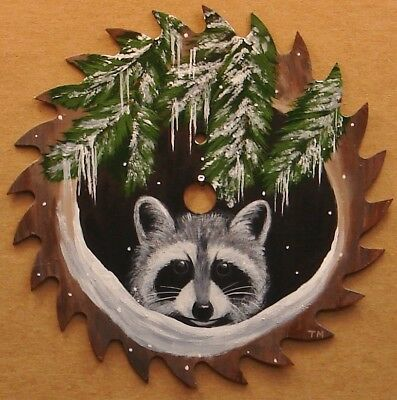 Hand Painted Saw Blade Raccoon Snow Cabin Lodge Country Decor
