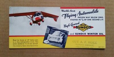 Blue Sunoco Motor Fuel,Flying Automobile Ink Blotter,1937
