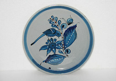 Mexican Folk Art Pottery Handpainted Plate Blue Bird Flower Leaves Flying Insect