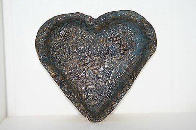 Vtg Handcrafted Art Pottery Heart-Shaped Dish Tray Textured Mosaic Floral Design